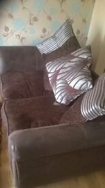 2 And 3 Seater brown fabric sofas with matching scatter cushions