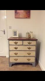 Vintage chic fully upcycled chest of drawers in chalk old white finish