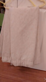 Pair of thick lined cream curtains for sale