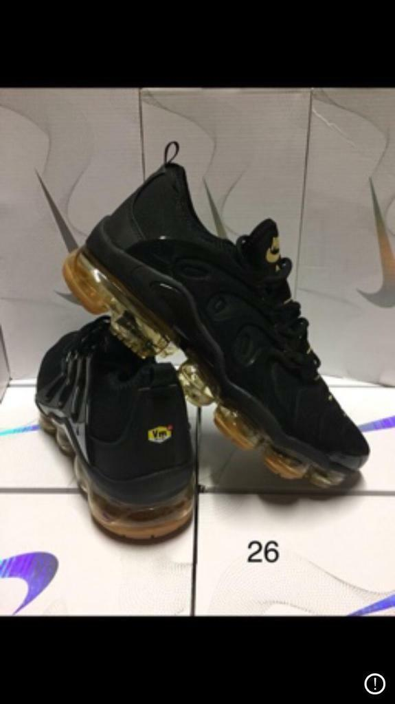 best service 5c464 190e0 Nike vm Tn vapormax Plus vms tns New In Box all black on gold | in New  Basford, Nottinghamshire | Gumtree