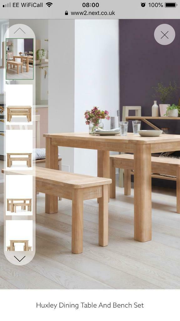 BRAND NEW Next Dining Table And Bench Set