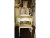 Vintage Cream and Gold French Style Dressing Table and Stool