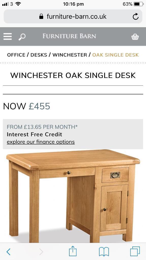 Winchester Solid Oak Computer Desk