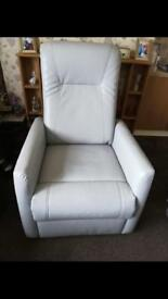 Grey real leather recliner chair