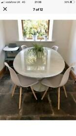 Stunning white marble dining table