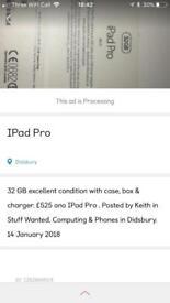IPad Pro 12.9 REDUCED FURTHER £395