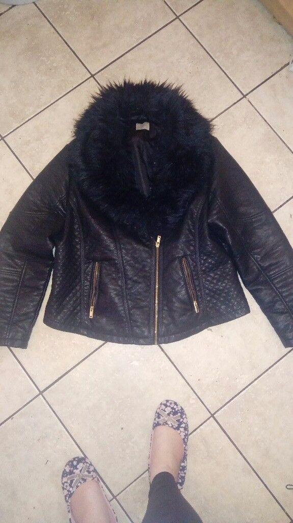 Leather fur jacket size 20