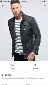 Barbour international wax jacket £100
