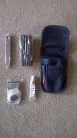 Brand new Bike Bicycle Puncture Repair Kit w/ smart denim pouch