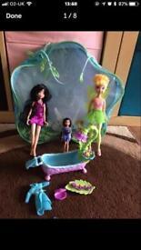 Fairy doll set, Tinkerbell, Silvermist, & Vida, including bath set & accessories