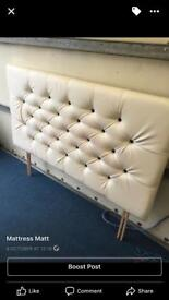 Double white leather headboard only £35ono