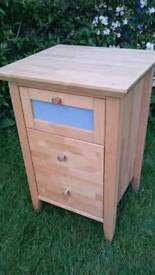 2 x Solid Birch Wood Bedside Tables