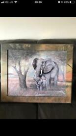 Large wall art/Picture in frame. African elephants