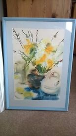 Original painting in blue frame
