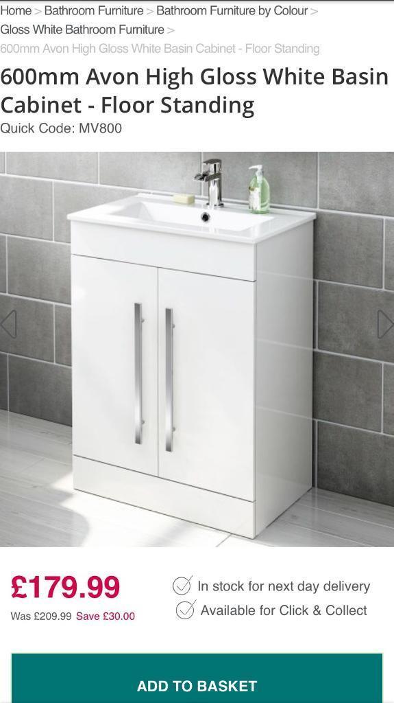 600mm Avon High Gloss White Basin Bathroom Cabinet Floor Standing