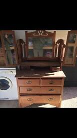 Dark Pine dresser with mirrors.