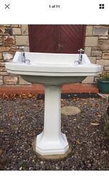 Original 1944 Wash Hand Basin, Pedestal & Taps