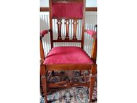 Set of 6 old 'Arts and Crafts' style mahogany, part upholstered dining chairs, including 2 carvers