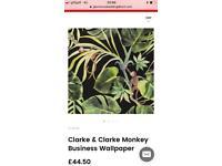 Wallpaper x 3. Monkey jungle print £70 ono