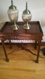 Mahogany carved lamp table