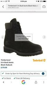 Genuine mens black timberland boots - size 8