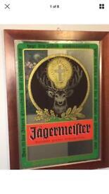 Vintage Jagermeister Liquor Advertising Framed Mirror Pub Bar Sign