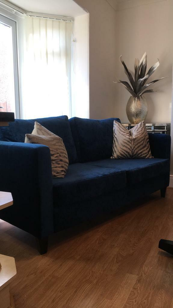 Two Gorgeous Velvet Petrol Blue Teal Large 2 Seater Sofas In