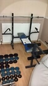 York Fitness 512 Weight Bench + Lat & Curl Attachment + ( Many Weights Included)