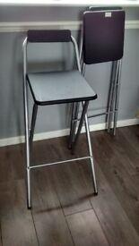 2 Fold Away Bar Stools - Black new never used