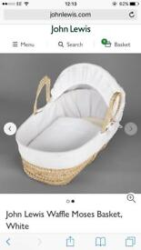 John Lewis Moses basket with mattress and stand