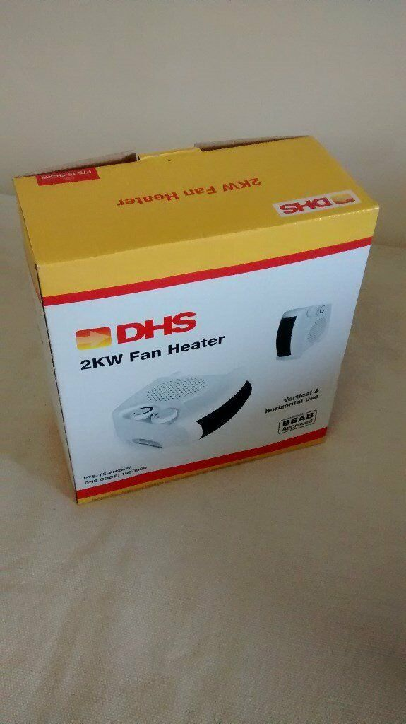 FAN HEATER, DHS brand, adjustable thermostat and overheat protection