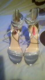 Sparkly silver stiletto sandals size 7
