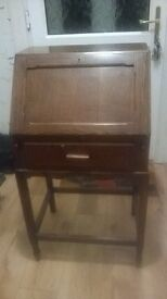 Antique writing cabinet with lock and key