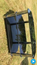 black glass and metal tv unit
