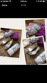 Wedding shoes size 4 bag and hair fascinator