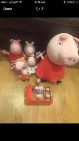 """PEPPA PIG 20"""" Talking Peppa + 5 other various size soft toys stamper push along car"""