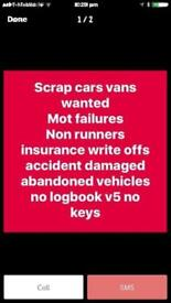 Wanted scrap cars and vans in Huddersfield