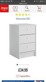 White Argos bedside cabinet