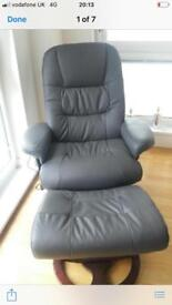Chair and foot stool with heat pad