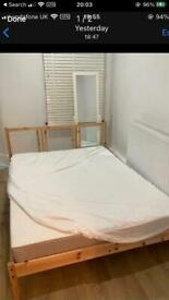 Wooden Double Bed With Mattress For Sale