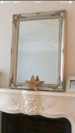 Shabby chic pewter mirror