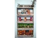 RUSTIC WOODEN KITCHEN HERB AND SPICE RACK SHELVES RECLAIMED TIMBER (32 BOTTLES)