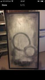 Huge art canvas picture in black frame new