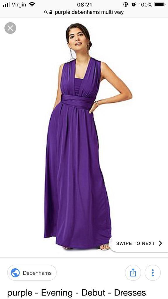 Debenhams multiway purple prom, bridesmaid, ball gown size 12 | in ...