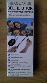 Brand new Aquarius Selfie Stick with Wireless Bluetooth Trigger Remote only £6