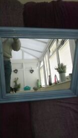 Mirror in Antique Blue Sparkle Chalk Paint