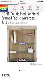 Fabric and metal wardrobe frame