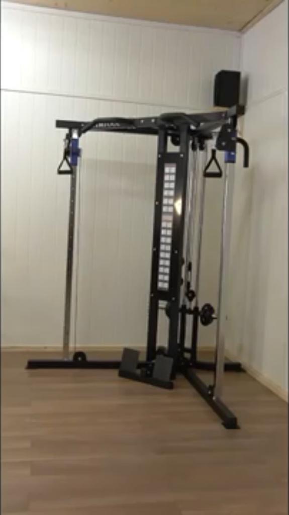 Cable cross over home multi gym weights plates loading