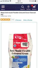 Anti mould flexible coloured grout charcoal new full bag 5kg