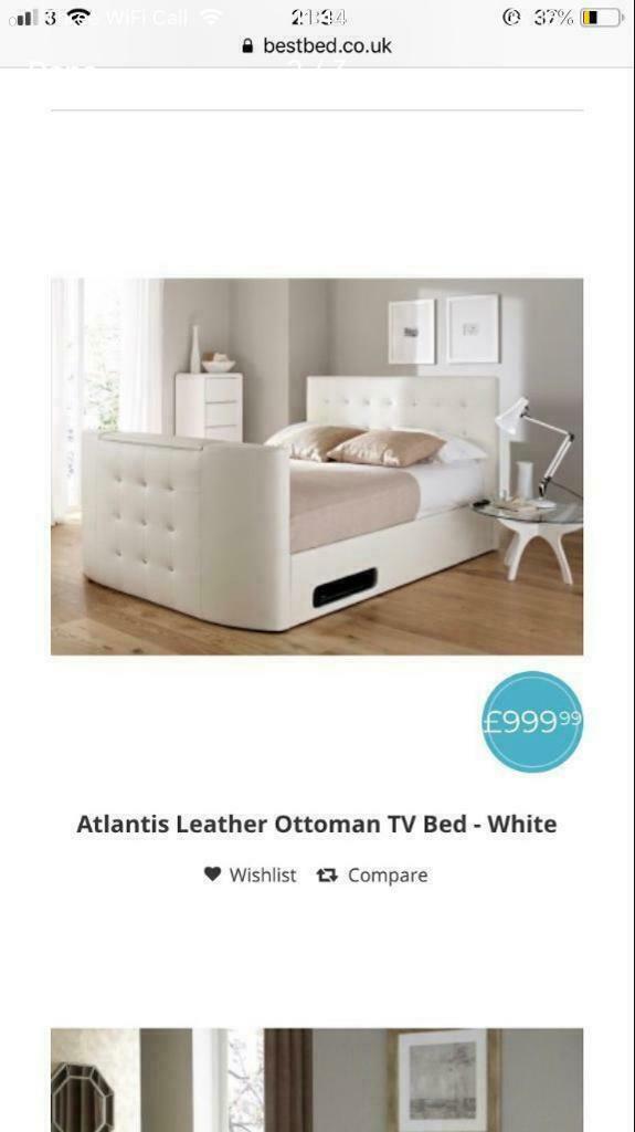 Superb White Diamonte Tv Bed In Gamston Nottinghamshire Gumtree Machost Co Dining Chair Design Ideas Machostcouk